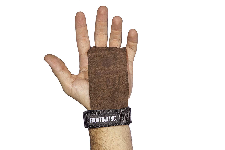 Frontino Inc.レザー体操用ハンドグリップ プルアップ時のハンド保護 クロスフィット WODトレーニング用 ブラウン Small