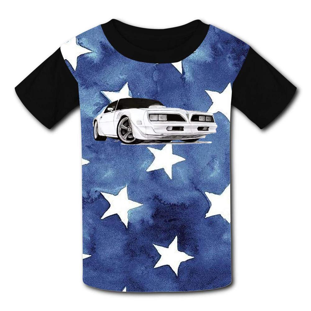 Boys Girls Kids Short Sleeve Summer Tees Shirts GCASST 1977 Firebird Bandit Paint Printed Graphic T-Shirt