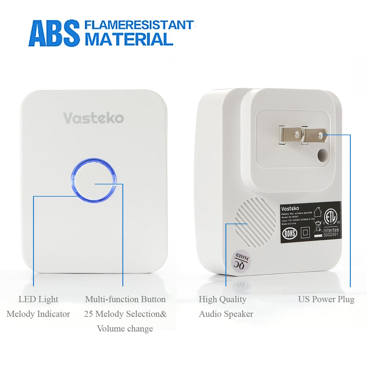 Vasteko Wireless Doorbell Kits No Battery Required For Both Receiver Wiring Diagram Meyer Transmitter And Ipx7 Waterproof Push Button 3 Level Volume 25 Ring Tunes White