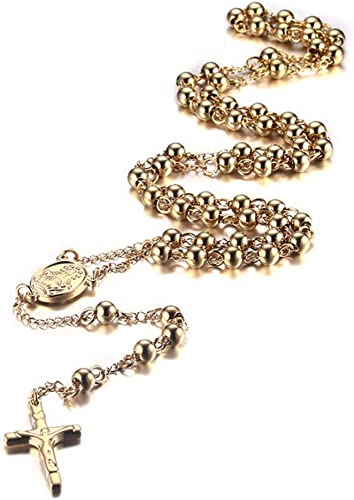 Fashion Jewelry Stainless Steel Black Goldtone 28-inch 8mm Rosary Necklace Chain