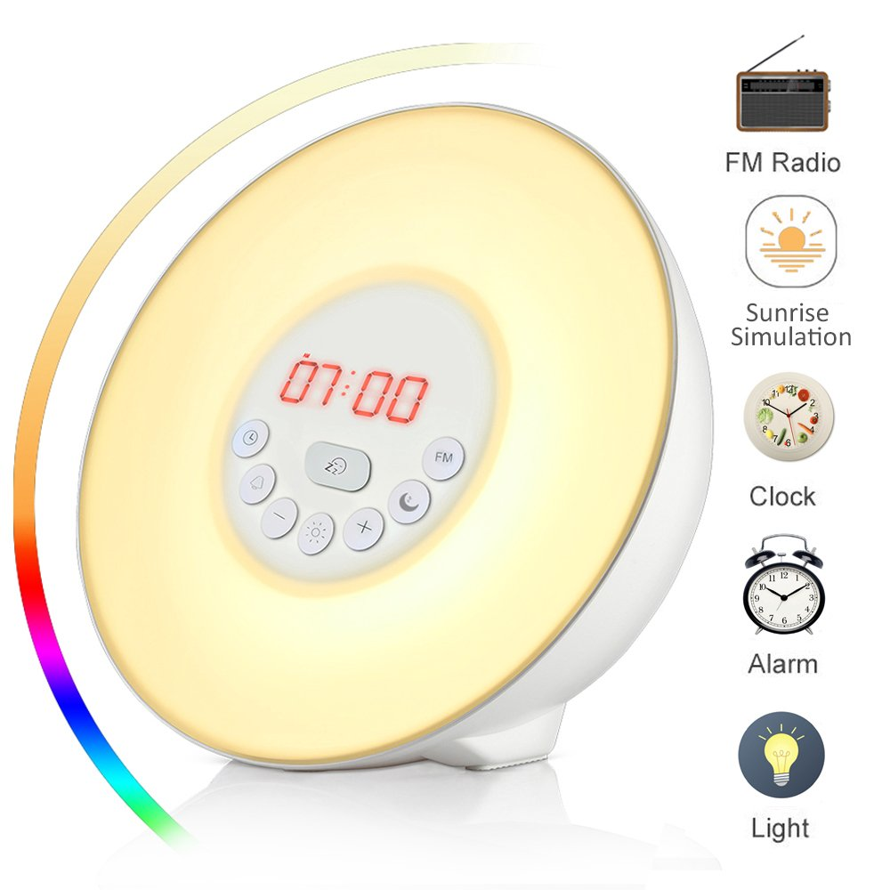 Wake Up Light Luces despertador Wuloo Sunrise Simulación Wake Up Luces despertar