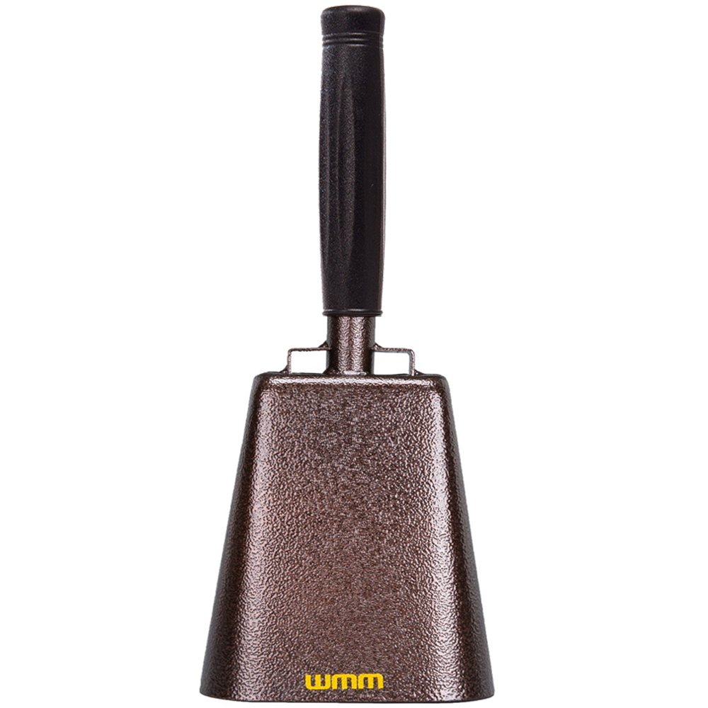 7 Inch Steel Cowbell with Handle Cheering Bell for Sports Events Large Solid School Bells & Chimes Percussion Musical Instruments Call Bell Alarm(Copper) by wmm