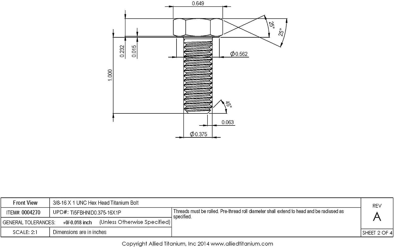 /N/úmero de pieza. Genuine 100/x tornillos H//T grado S UNF 3//8/x 2/1//2/accesorios herramienta/
