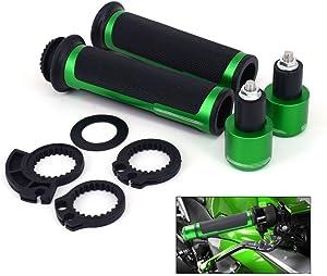 "JFG RACING Motorcycle 7/8"" Aluminum Rubber Handlebar Grips With Bar Ends Caps Plugs For KAWASAKI NINJA 250R ZX6R 636 ZX6RR ZX10R ZX7R ZX9R ZX12R ZX14R -Green"