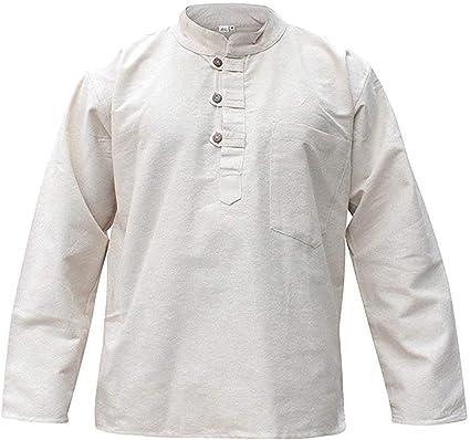 SHOPOHOLIC FASHION HOMBRE Hemp Camisa De Abuelo Hippy Claro Suéter: Amazon.es: Ropa y accesorios
