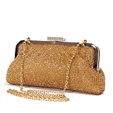 Lady Couture Soft Rhinestone Embellished Clutch Bag by, Bag 2015-7 Gold