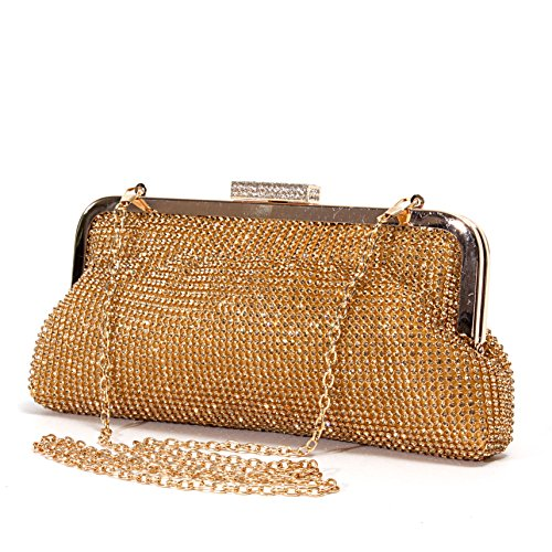 Lady Couture Soft Rhinestone Embellished Clutch Bag by, Bag 2015-7 Gold by Lady Couture