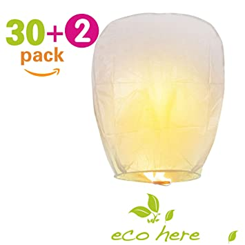 Amazon.com: Biodegradable Chinese Lanterns Flying, 30 PCS Sky ...
