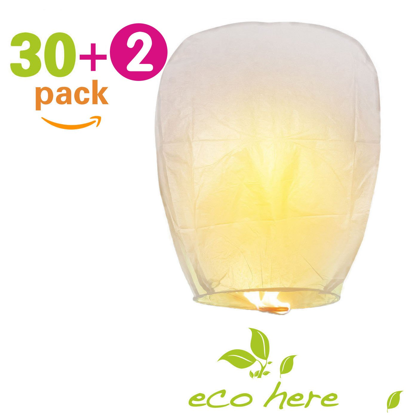 Biodegradable Chinese Lanterns Flying, 30 PCS Sky Lanterns Paper Eco Friendly, Ideal for Wedding, Birthday, Christmas, Party (White)