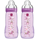 MAM Easy Active Baby Bottle, Fast Flow Twin Pack - 330 ml, Color: Assorted (Designs May Vary)