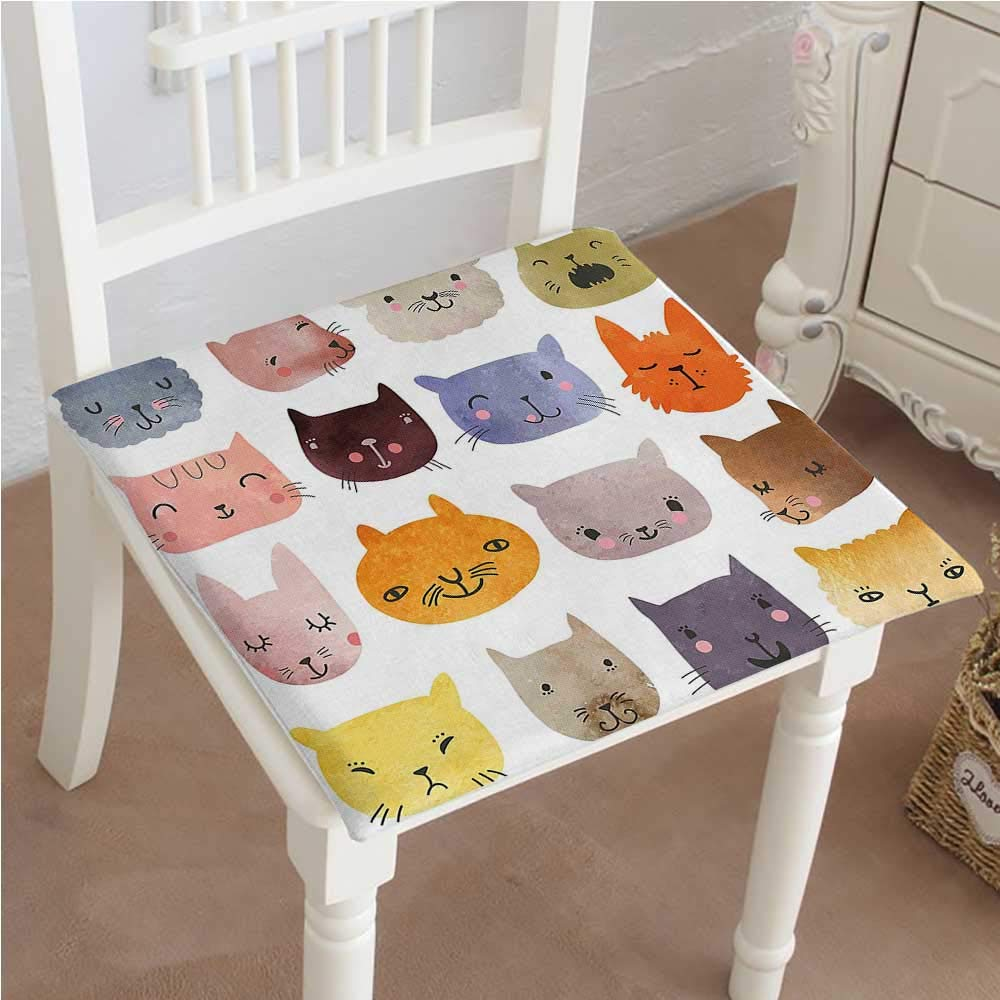 Mikihome Classic Decorative Chair pad Seat Cute Watercolor Effect Cat Heads in Colorful Humor Fun Purring Meow Animal Kids Cushion with Memory Filling 26''x26''x2pcs