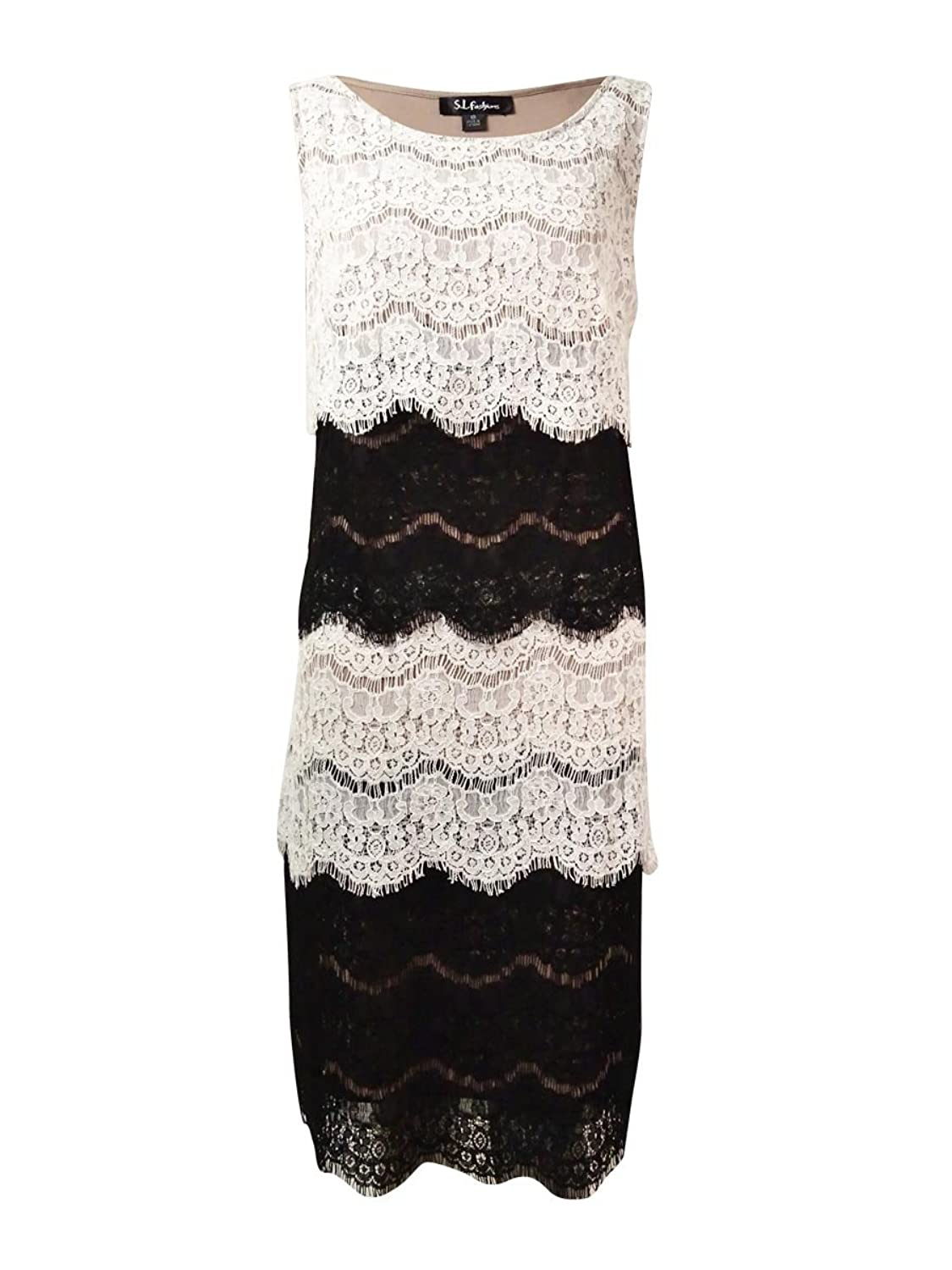 S.L. Fashions Women's Two-Tone Tiered Lace Dress