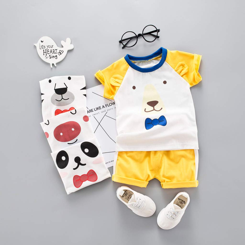 Dinlong Baby Kids Boys Girls Summer Short Sleeve Cartoon Lovely Cat Eyes Print Tops Solid Color Casual Shorts 2Pcs Outfits