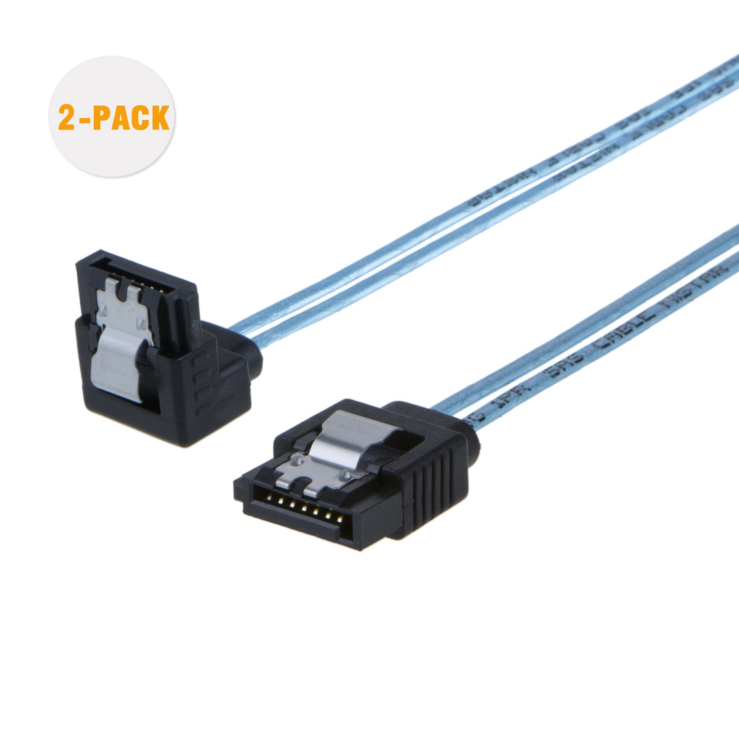 CableCreation SATA III Cable, [2-Pack] 18-inch SATA III 6.0 Gbps 7pin Female Straight to Down Angle Female Data Cable with Locking Latch, 0.6 FT Blue CS0059