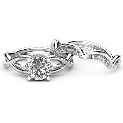 Infinity Enement Ring Set | Amazon Com Dividiamonds Solitaire Infinity Engagement Wedding Band