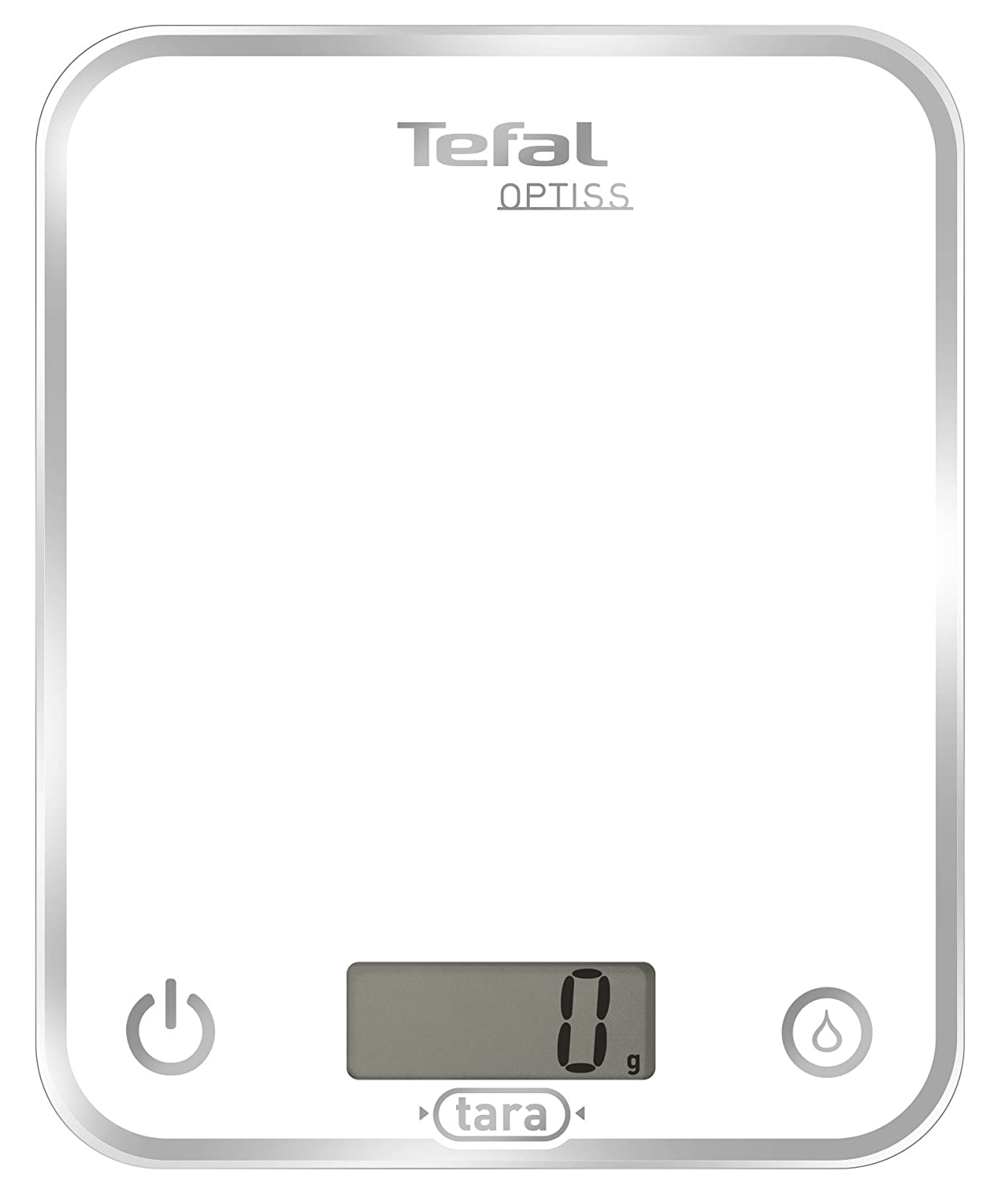 Tefal BC5000 Optiss glass white - Bilancia da cucina elettronica BC5000 Optiss White bilancia; dosatore