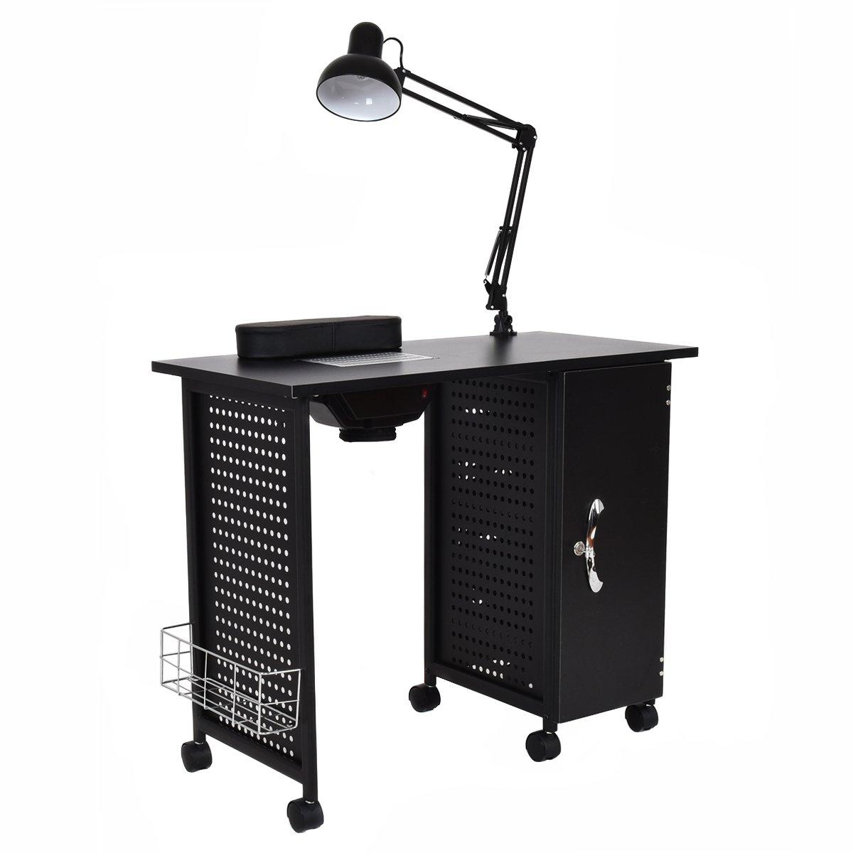Giantex Manicure Nail Table Station Black Steel Frame Spa Salon Equipment Drawer