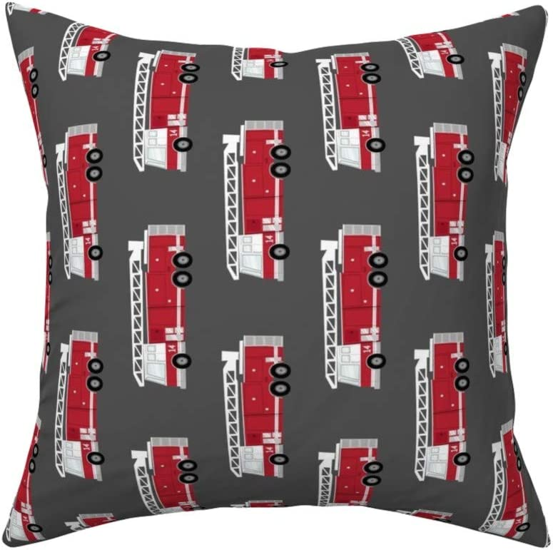 PILLOWS,fire trucks,dark red,Square,Sofa,Decorative,Backrest,bedside,Hypoallergenic Pillow,18X18 Inches
