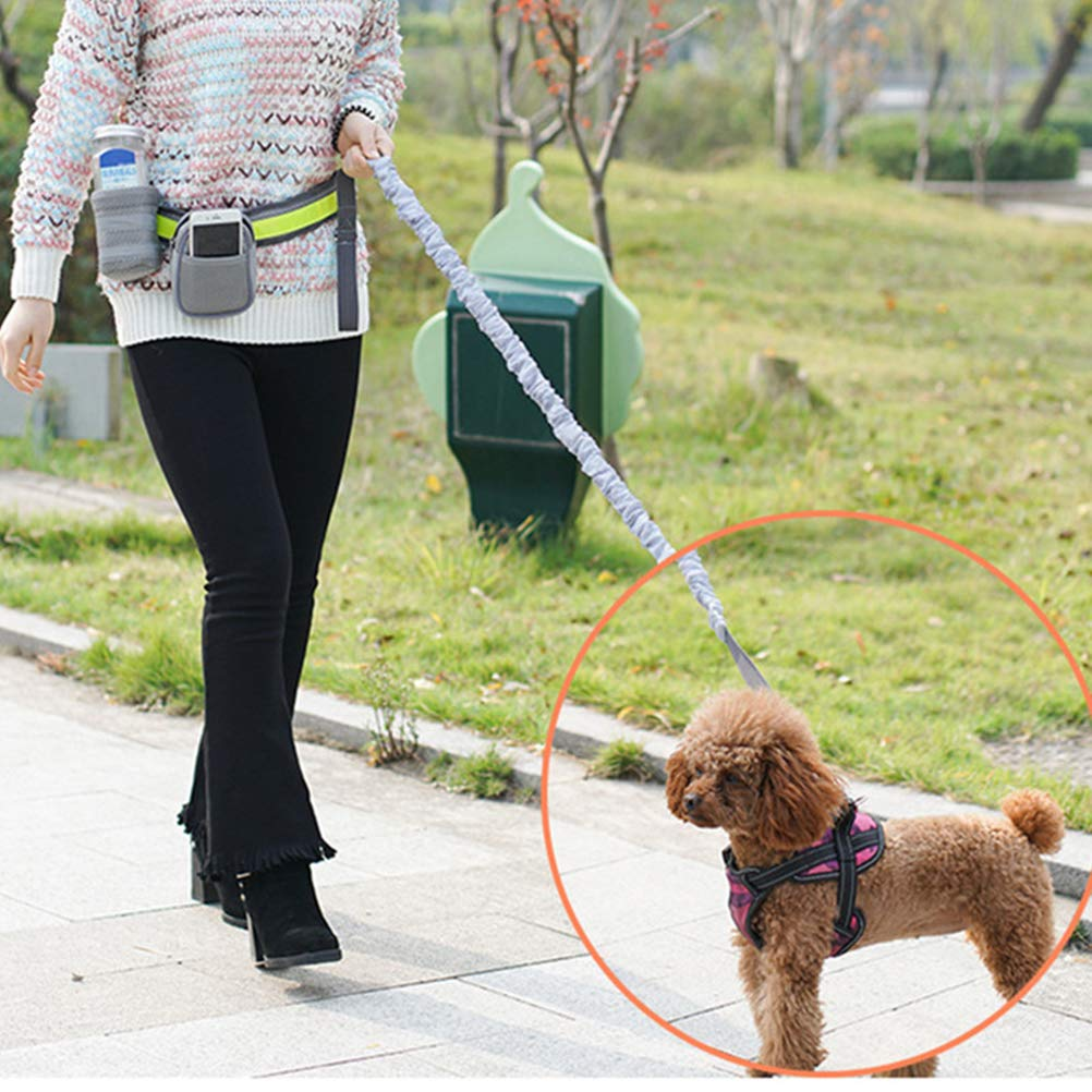 Grey and Green POPETPOP Waist Belt Dog Leash Highly Reflective Threads for Medium and Large Dogs