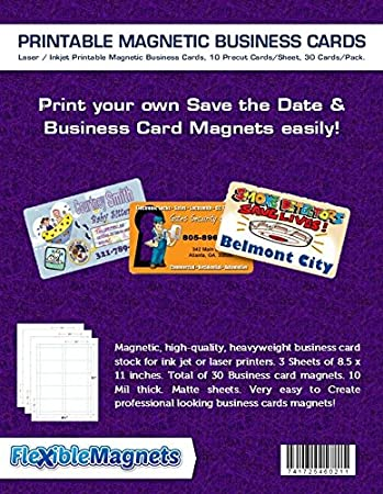 Amazon 3 inkjet printable business card magnetic sheets pre 3 inkjet printable business card magnetic sheets pre cut cards 30 cards total colourmoves