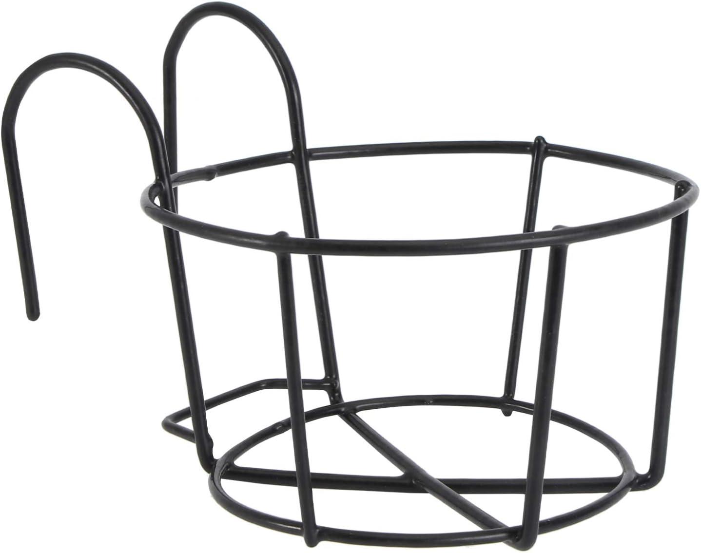 OUNONA Metal Hanging Flower Pot Holder Iron Hanging Planter Pot Support Stand with Detachable Hook Garden Home Ornaments (16cm x 16cm x 15cm Black)