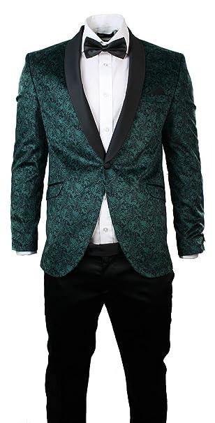 Abito Elegante 3 Pezzi da Sera da Uomo Smoking Verde e Nero e Colletto  Sciallato verde 42UK 315f59fbbf8