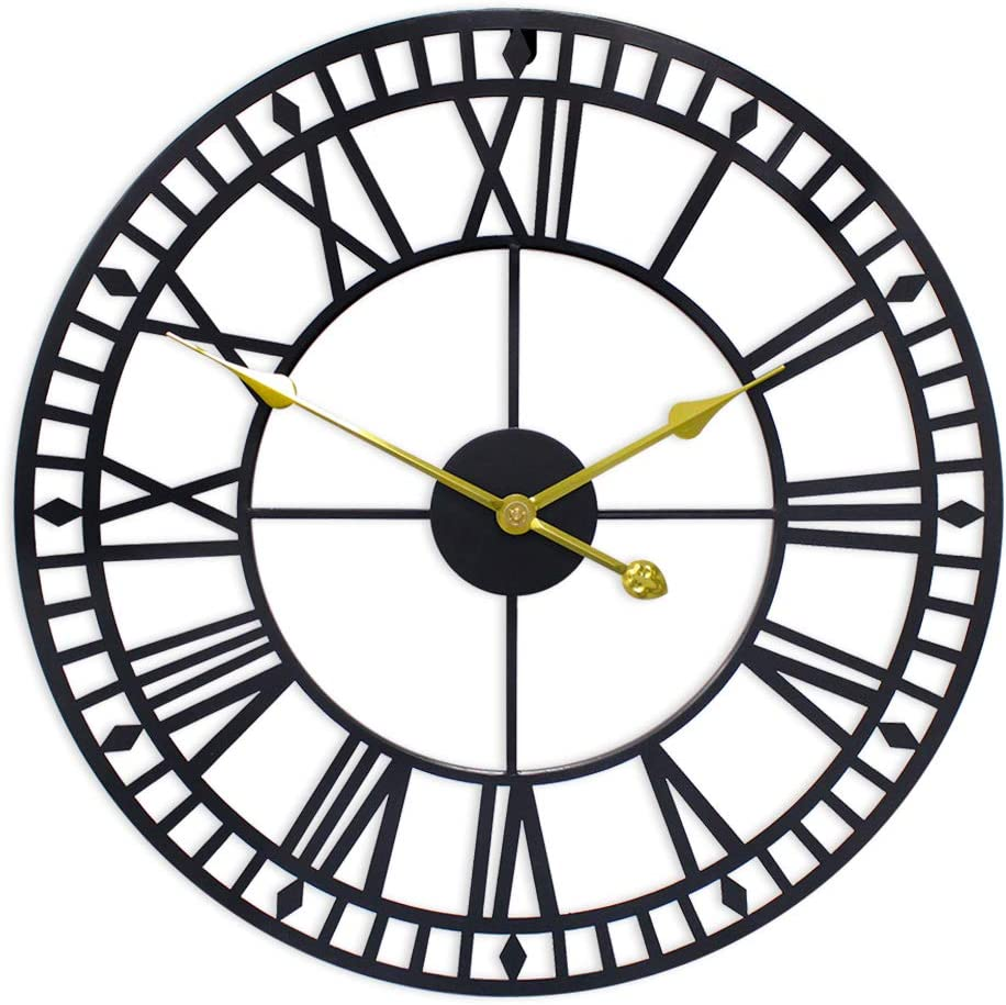 G-LEAF 32 Inch Metal Large Wall Clock Decorative,European Retro Clock Roman Numerals, Silent Battery Operated Metal Clock for Home, Living Room, Kitchen and Den