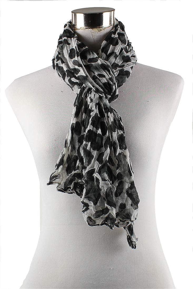ABILIO Sciarpa maculata di viscosa tessuto stropicciato foulard casual