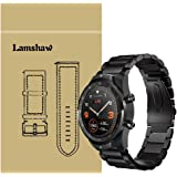 for TicWatch Pro Band, Lamshaw Stainless Steel Metal Replacement Straps for TicWatch Pro Bluetooth Smart Watch (Black)
