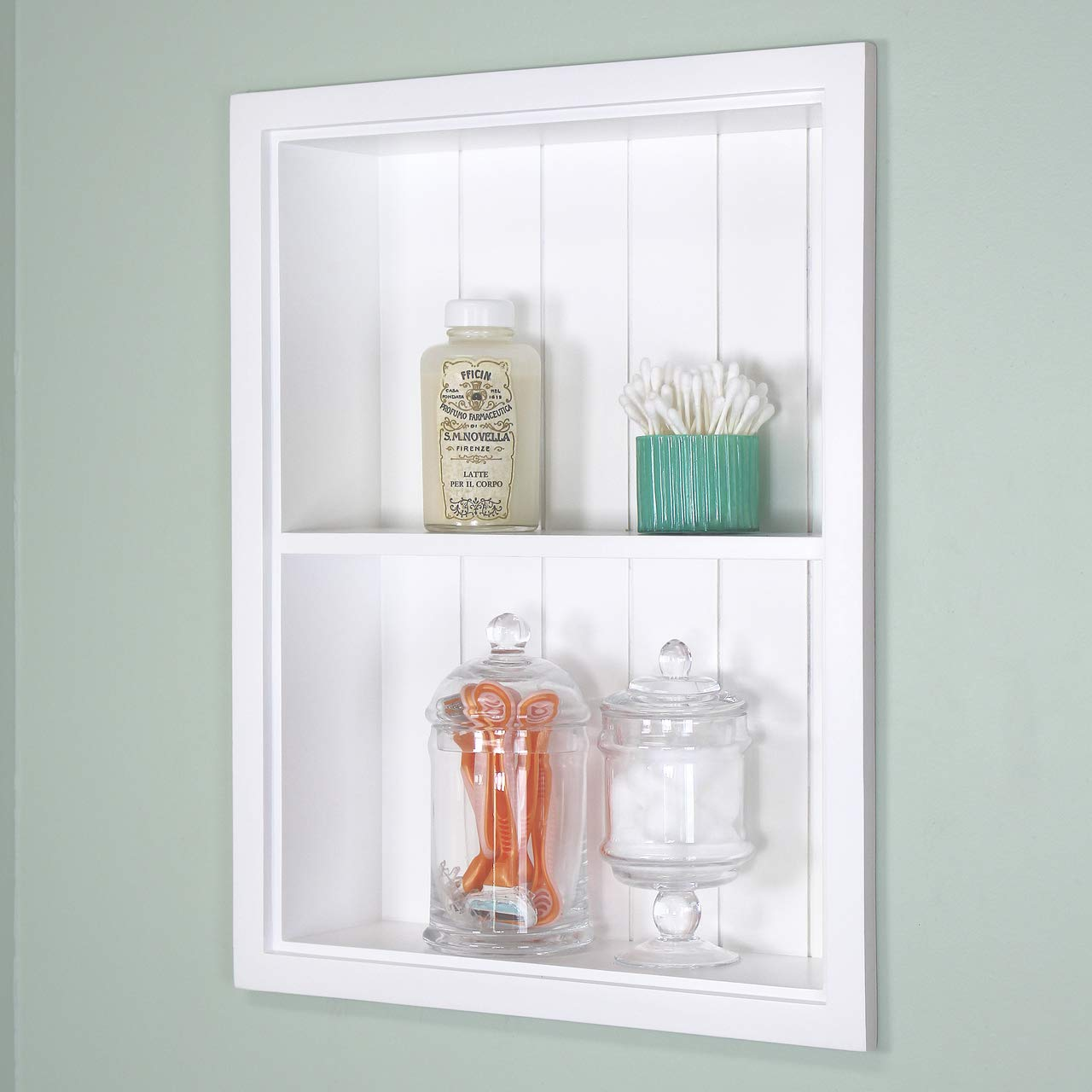 Fox Hollow Furnishings 14x18 Recessed White Sloane Wall Niche w/beadboard Back and 1 Shelf