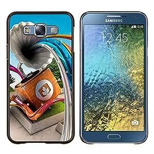 KLONGSHOP // Cubierta de piel con cierre a presión Shell trasero duro de goma Protección Caso - Gramophone Líneas abstractas - Samsung Galaxy E7 E700 //