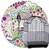 cyclamen9 Bird Seed Guards Cage Seed Guard, Catchers Bird Cage Tidy Bird Cage Mesh Net Cover Skirt,Soft Nylon Skirt Adjustable Drawstring (L,White)