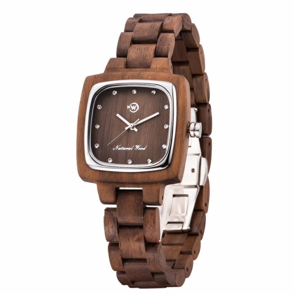 New Now Woman's Watch Swiss 763 Movement Analog Quartz Natural Real Wood Watches with Gift Box (Brown)