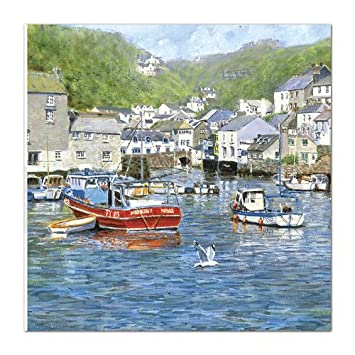 Artist Birthday Card Alm6953 Polperro Harbour Cornwall Amazon