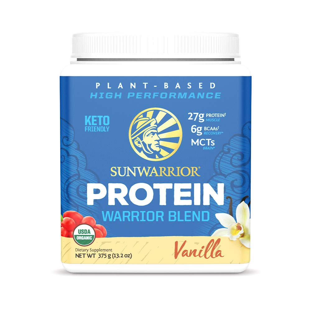 Sunwarrior Warrior Blend, Organic Vegan Protein Powder with BCAAs and Pea Protein: Dairy free, Gluten Free, Soy Free, Non- GMO, Unsweetened protein powder, and Keto Friendly, Vegetarian (Vanilla 375g)