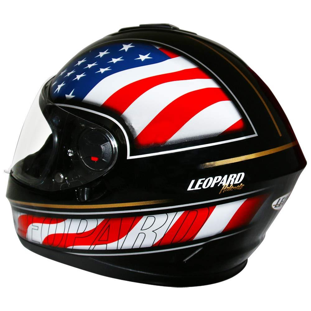 Leopard LEO-828 DVS Full Face Motorbike Helmet - Double Visor Motorcycle Helmet Matt Black XL 61-62cm