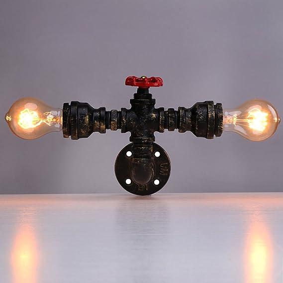 Linkax Apliques de pared de tubo de agua vintage industrial Cobre lámpara de pared Tubo de metal Loft Luz de pared hogar Base de la lámpara E27(bombillas no incluidas): Amazon.es: Bricolaje y
