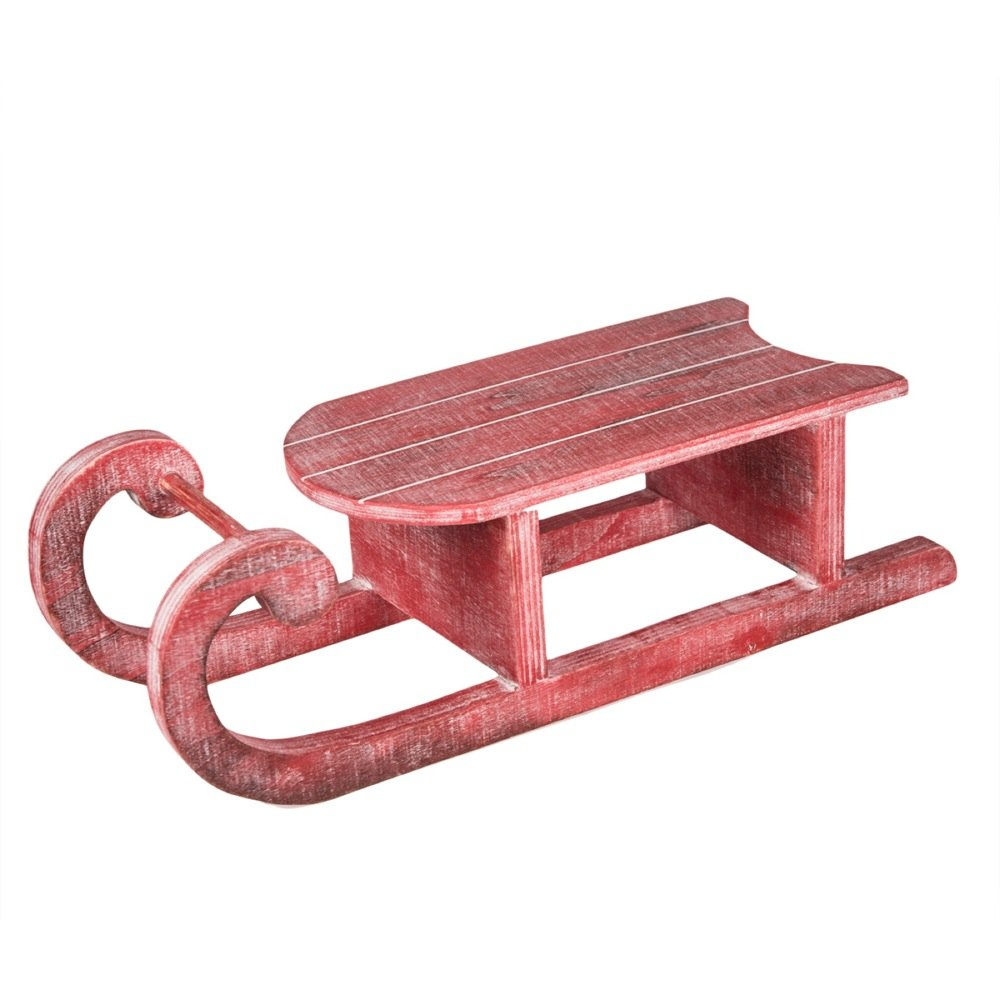 Red Nordic Snow Sleigh 16 x 5 inch Wood Christmas Table Top Figurine