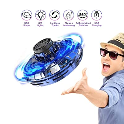 Green-Home The Most Tricked-Out Flying Spinner Helicopter Ball with 360 Rotating and Shinning LED Lights (Blue): Toys & Games
