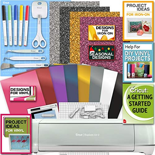 Cricut Explore Air 2 Machine Bundle Iron On Vinyl Pack Tools Pen Design Beginner Guide (Digital Printer For T Shirts For Sale)