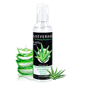 Aloe Vera Gel with 100% Naturally Aloe Barbadensis Great for Skin & Hair Care Pure Aloe Vera Absorbed Rapidly with No Sticky Residue
