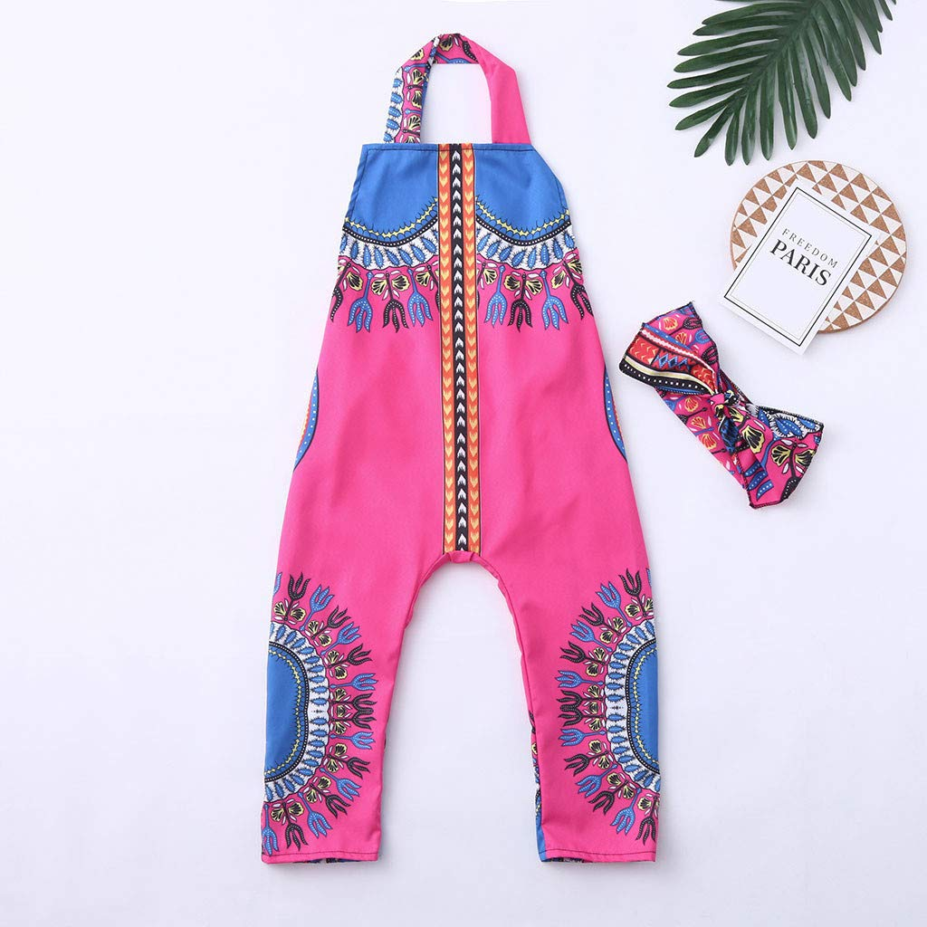 69ab5d8df30b6 Amazon.com: ❤ Mealeaf ❤ Toddler Kid Baby Girl African Print Sleeveless  Romper Hair Band Jumpsuit Clothes(Hot Pink,100): Home & Kitchen