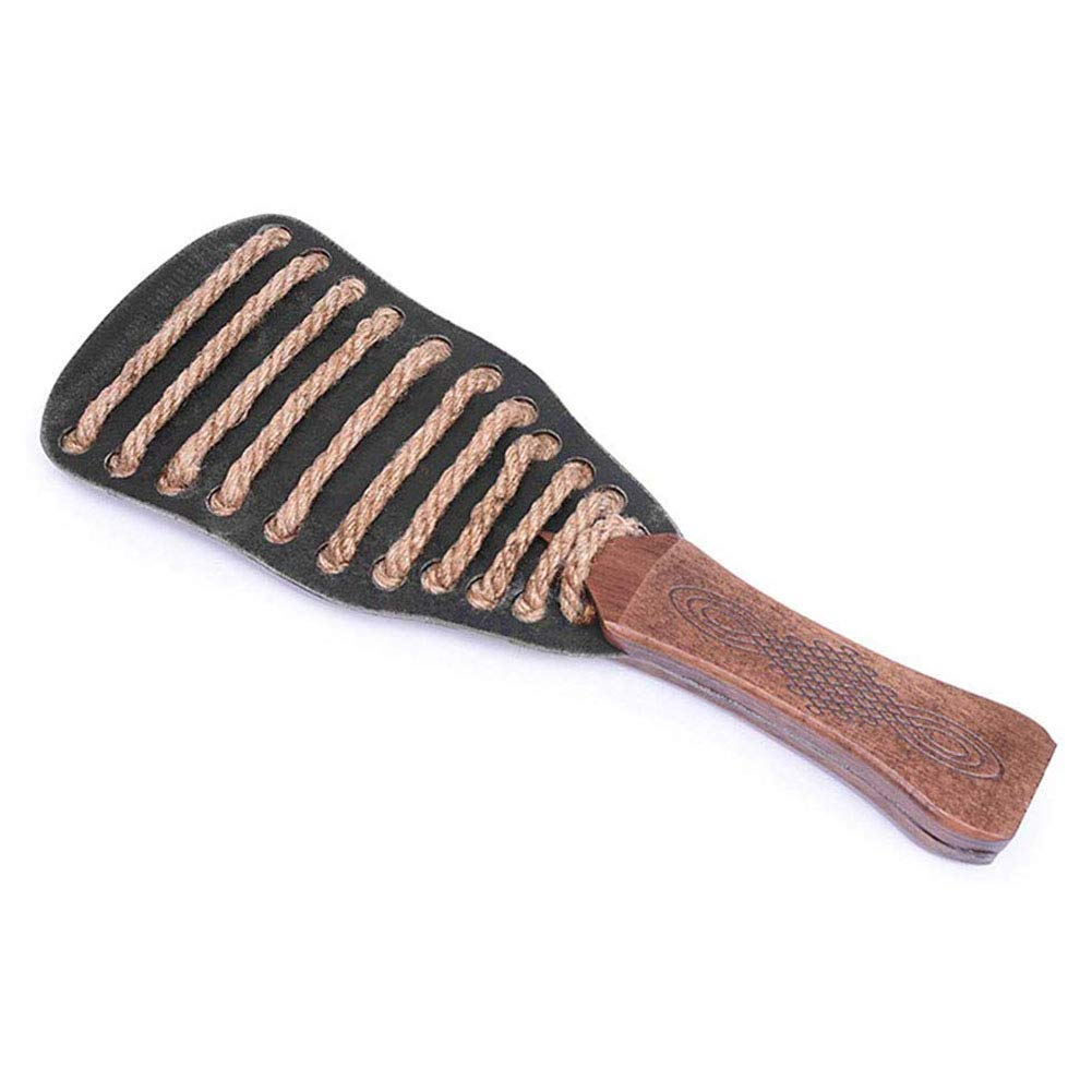 SM Fetish Paddle for Flirting Spanking Paddle - Steel Plate + Hemp Rope Decoration + Wooden Handle - Super Durable with Beautiful Smooth Finish,Picture by COSY-L