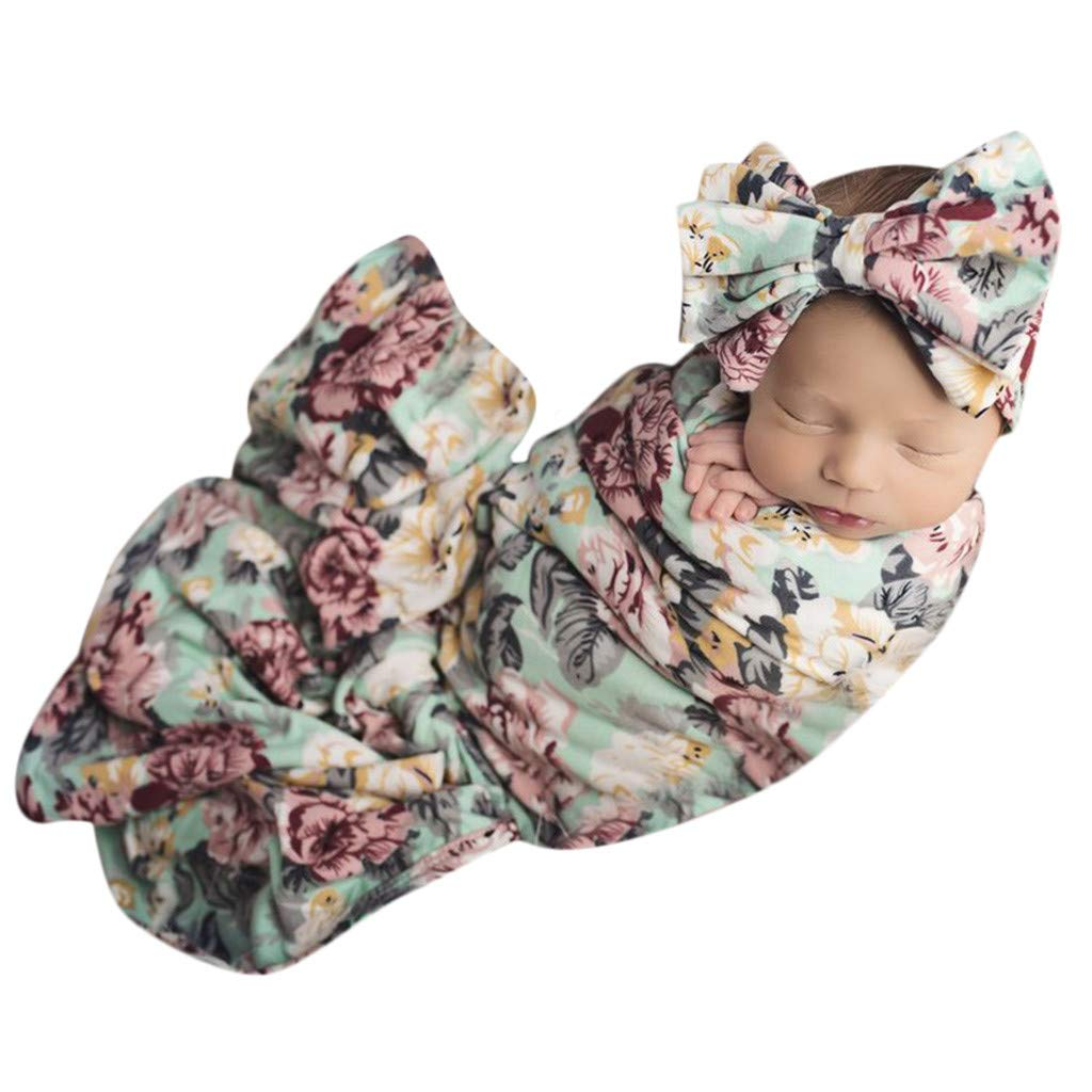 Tronet Winter Baby Clothes, 2PCS Newborn Infant Baby Cartoon Print Blanket Swaddle Sleeping Bag (D)