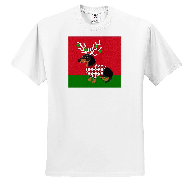 ts/_310746 Adult T-Shirt XL 3dRose Janna Salak Designs Christmas Cute Christmas Dachshund with Antlers