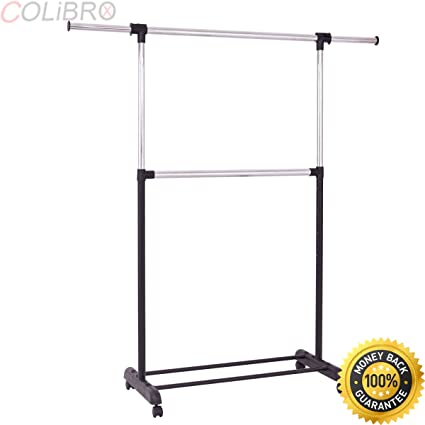 Amazon.com: COLIBROX--2 Rod Garment Rack Adjustable Clothes ...