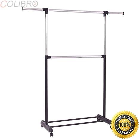 Amazon.com: COLIBROX--2 Rod Garment Rack Adjustable Clothes ...