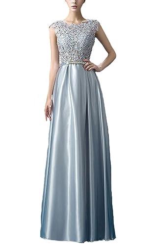Fanhao Women's Elegant O Neck Floral Lace Satin Long Evening Prom Dress