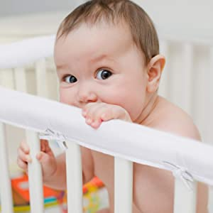 EXQ Home 3-Piece Baby Crib Rail Cover Set for 1 Front Rail and 2 Side Rails,Safe Kids Padded Crib Rail Protector from Chewing for Standard Cribs,Soft Batting Inner for Baby Teething Guard(White)