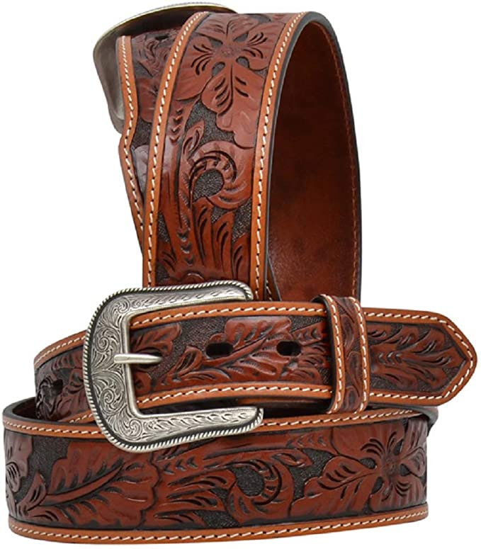 3D Mens 1 1//2 x 42 Distressed Brown Tooled Floral Leather Star Concho Western Belt